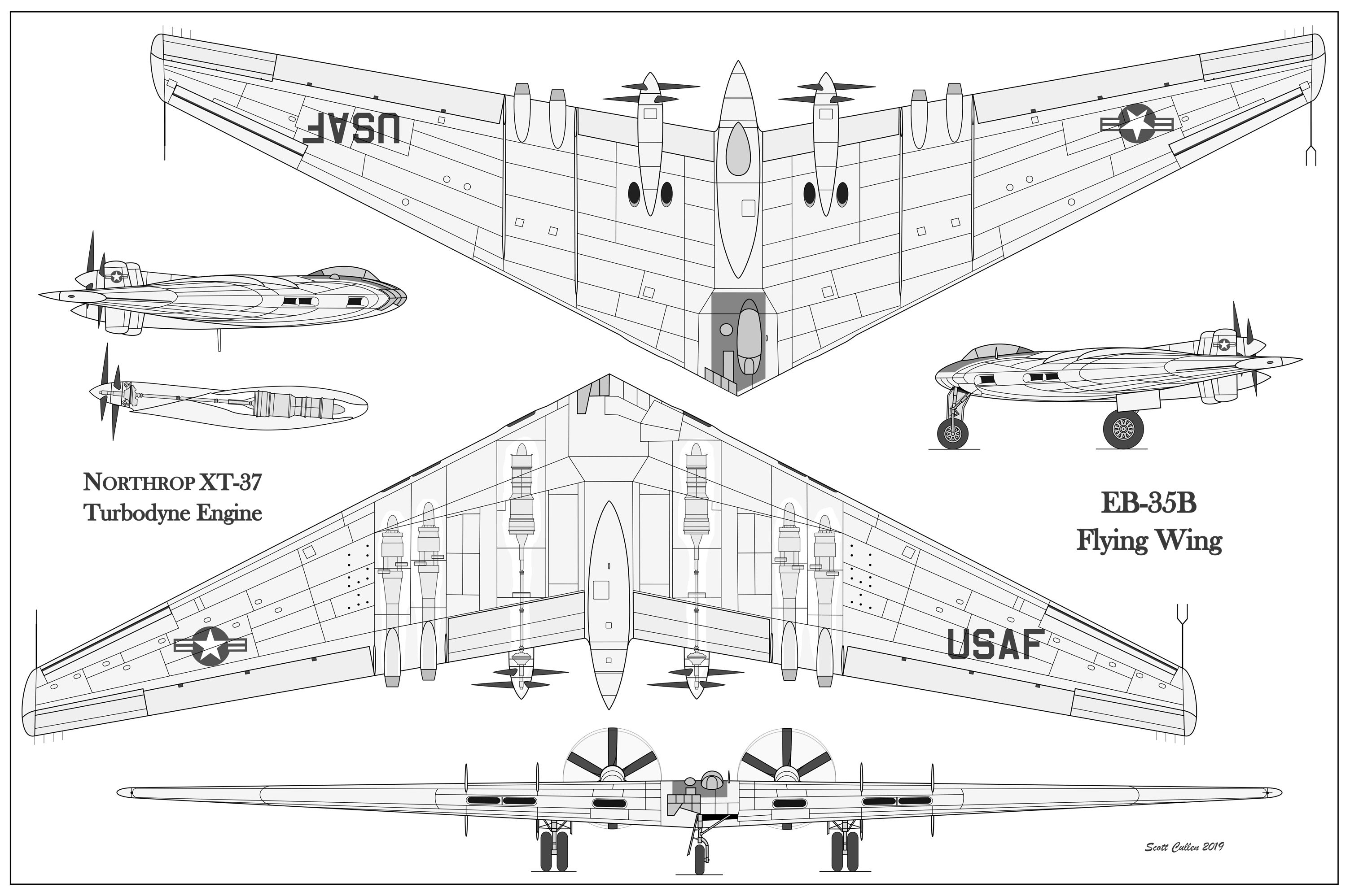Northrop Eb 35b Testbed For The 10 000hp Northrop Xt 37