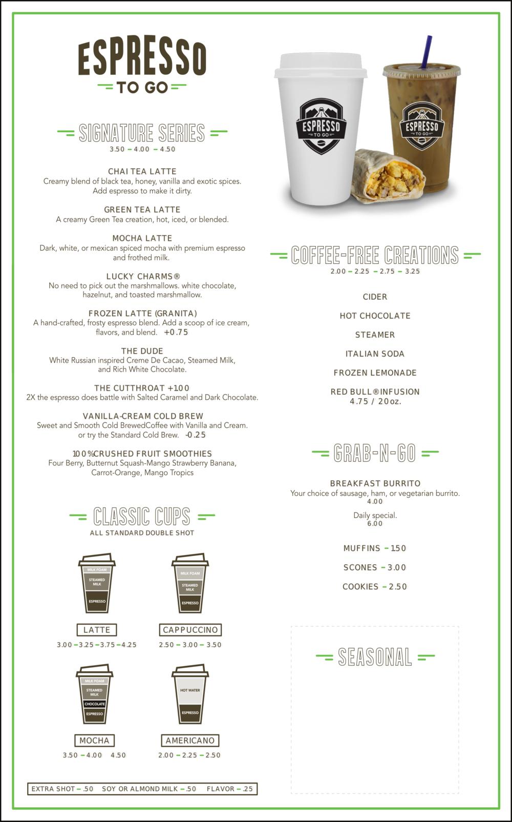 Menu Bozeman Drive Thru Coffee Shop Espresso To Go Coffee Shop Menu Coffee Shop Business Drive Thru Coffee
