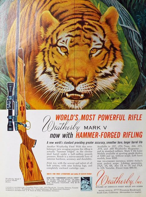 1960 Weatherby Mark V Rifle Ad ~ Hammer Forged Rifling