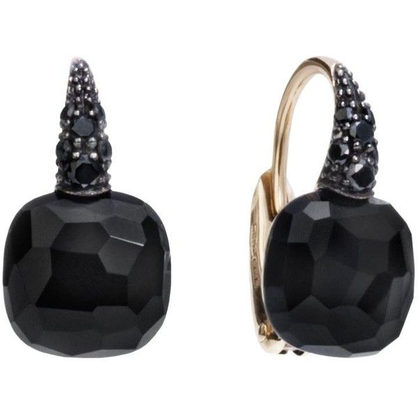 Pomellato Onyx Rose Gold Capri Earrings ($3,155) ❤ liked on Polyvore featuring jewelry, earrings, red gold jewelry, pomellato, blue earrings, sparkly earrings and rose gold jewellery