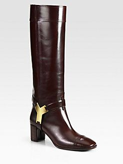 5251527fcf6 Yves Saint Laurent - Leather and Gold-Plate Knee-High Boots | MODE ...
