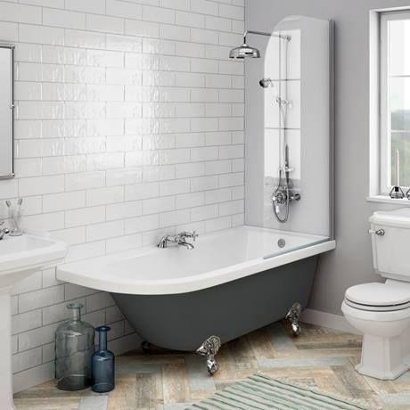 Roll Top Bath With Shower Overhead Freestanding Bath With Shower Traditional Bathroom Burlington Bathroom
