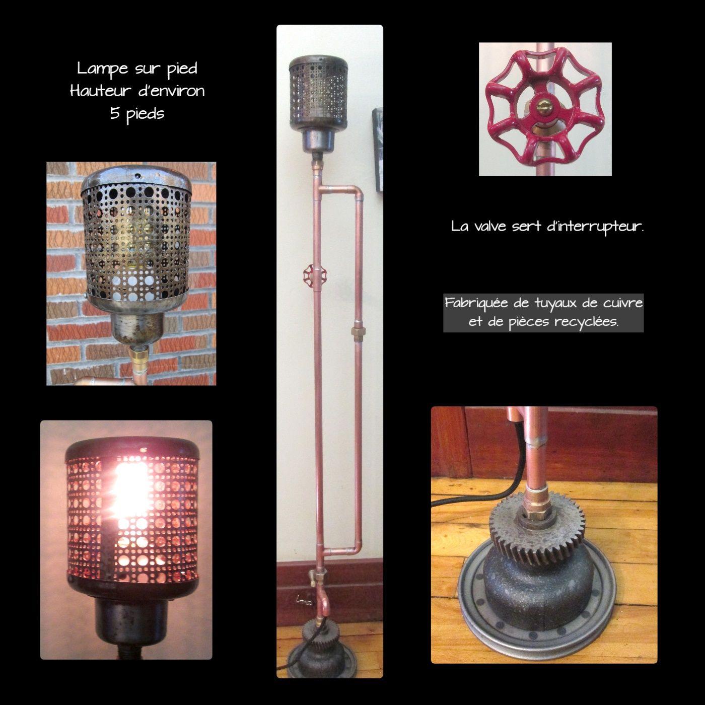 lampe sur pied fabriqu e avec des tuyaux en cuivre et des. Black Bedroom Furniture Sets. Home Design Ideas