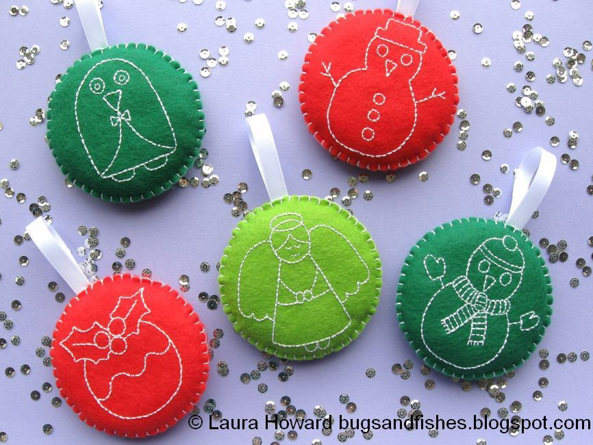 embroidered christmas decorations google search - Embroidered Christmas Ornaments