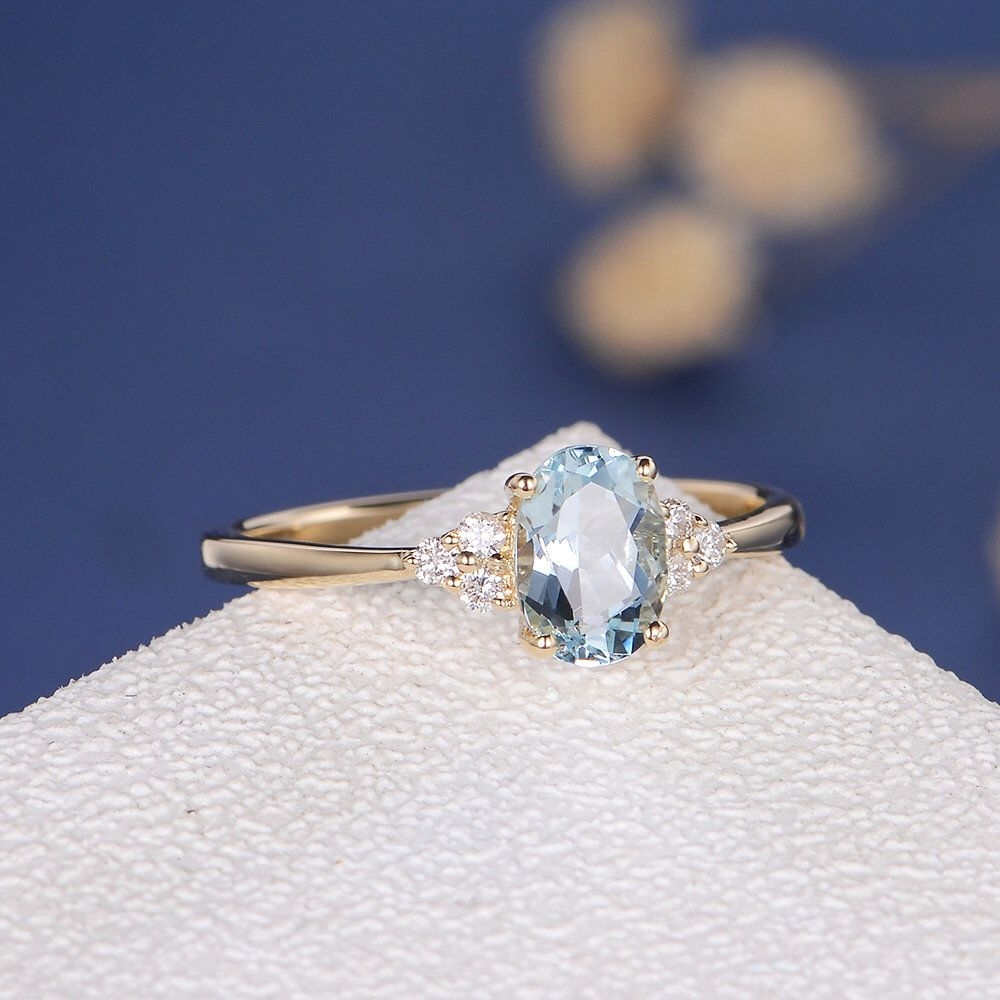 Unique Aquamarine Engagement Ring Aquamarine Ring Rose Gold White Gold Wedding Cluster Oval Cut Antique Bridal Women Anniversary Gift