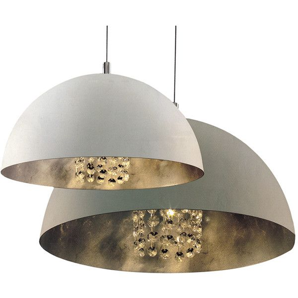 Interior Bowl Pendant Light (€205) ❤ liked on Polyvore featuring home, lighting, ceiling lights, metal bowl, white shades, white pendant light, white pendant lighting and metal shade