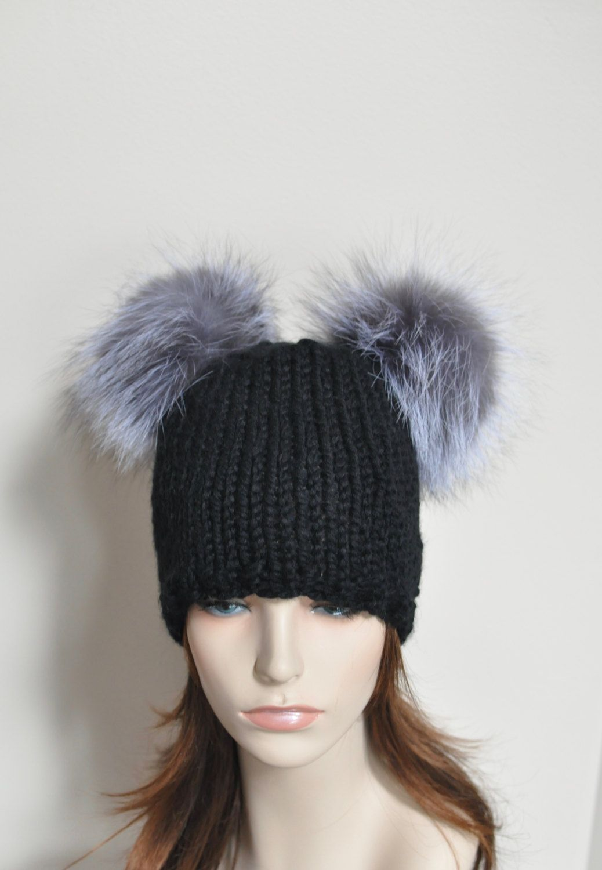 3c8e169ba65 Black Double Pompom Beanie Kylie Jenner Hat 2 Fur Bobbles Hat CHOOSE COLOR  Ski…