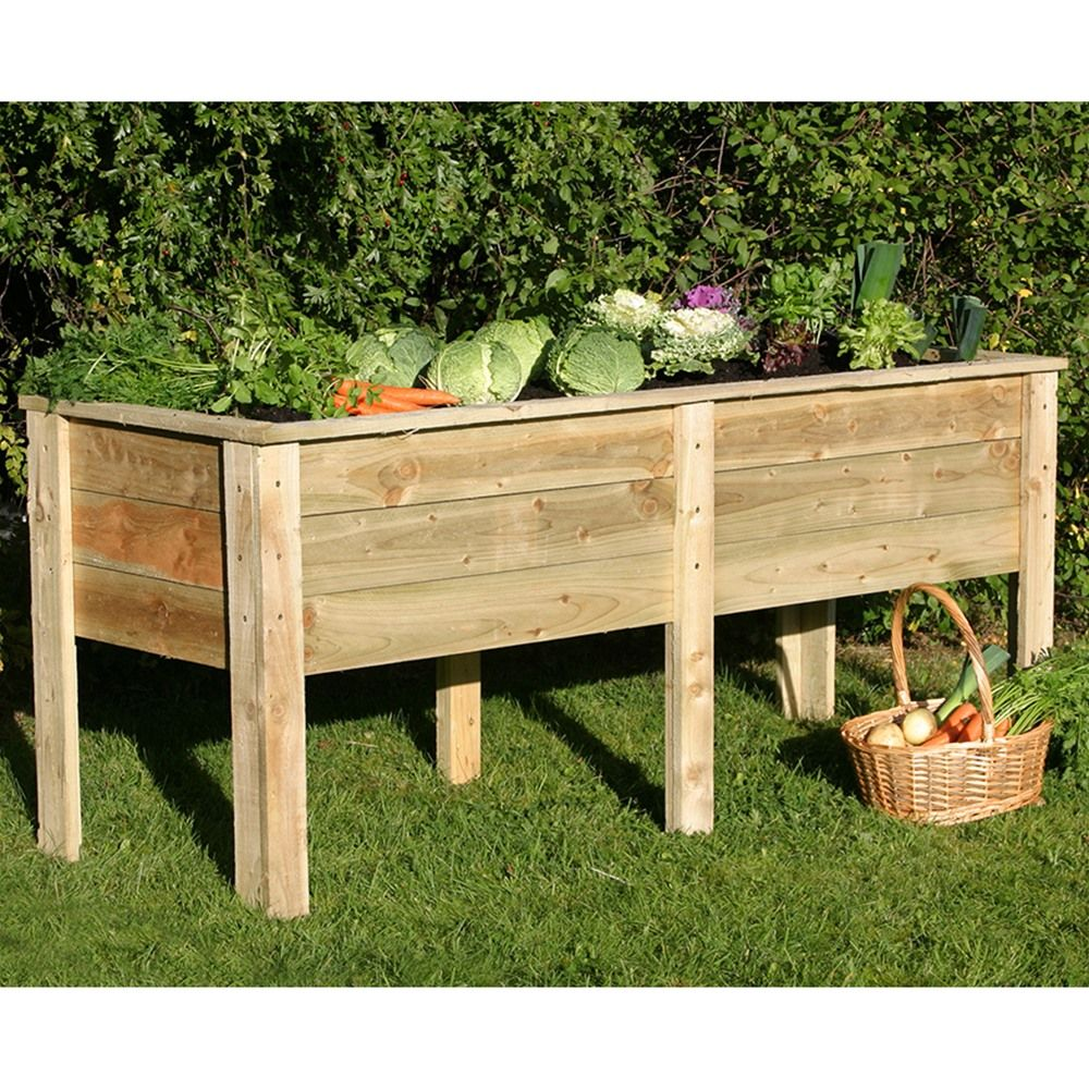 Zest 4 Leisure 1.8m Deep Root Wooden Raised Vegetable Bed