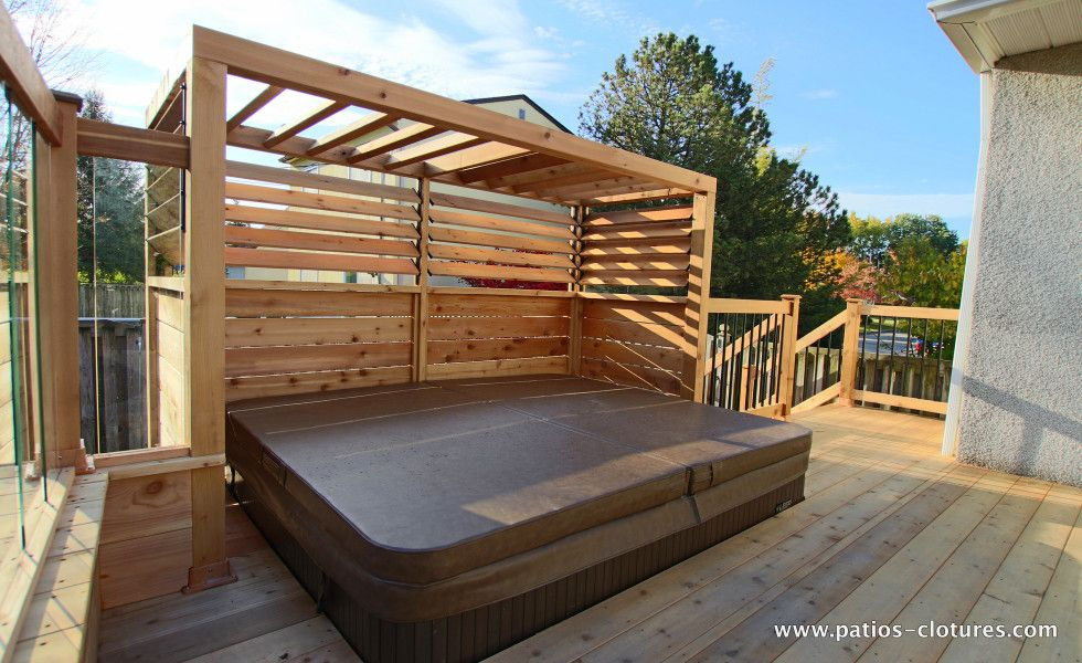 Elegant Deck Brunelle | Deck Around Above Ground Pool With Integrated Hot Tub And A  Railing