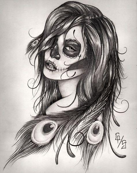 Dessin Crayon A Papier Femme Maquillee Pour La Fete Des Morts