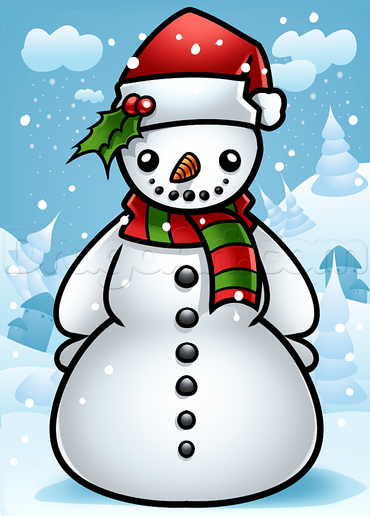 drawing a snowman step by step Draw a snowman, Christmas