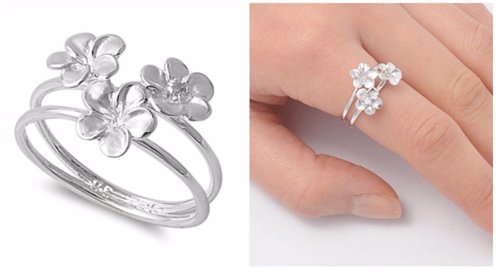 Sterling silver pretty design three plumeria flower ring mm