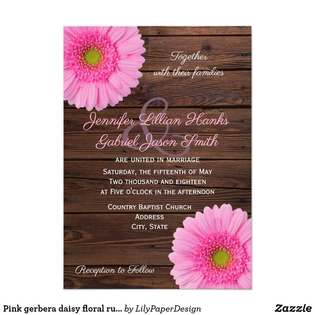 Pink Gerbera Daisy Floral Rustic Wood Wedding Invitation Zazzle Com Rustic Wood Wedding Invitations Wood Wedding Invitations Wedding In The Woods