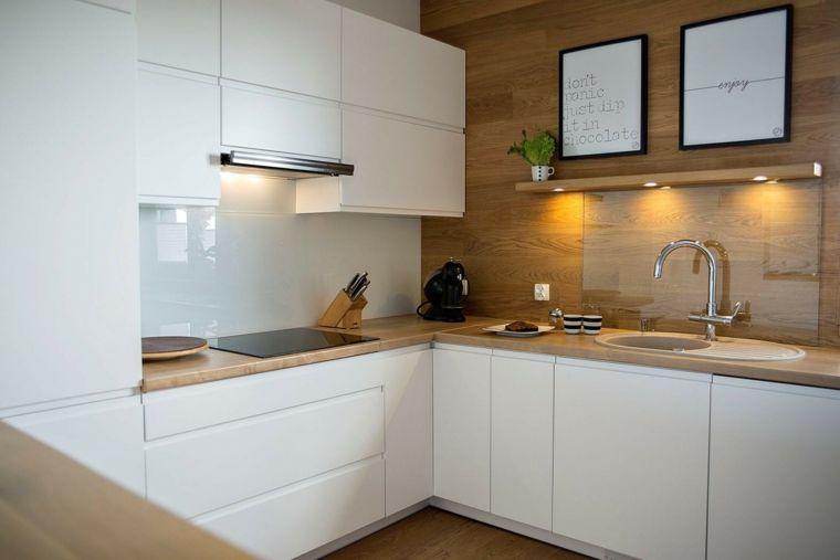 Cocinas blancas modernas con detalles en madera cocinas for Cocinas integrales blancas