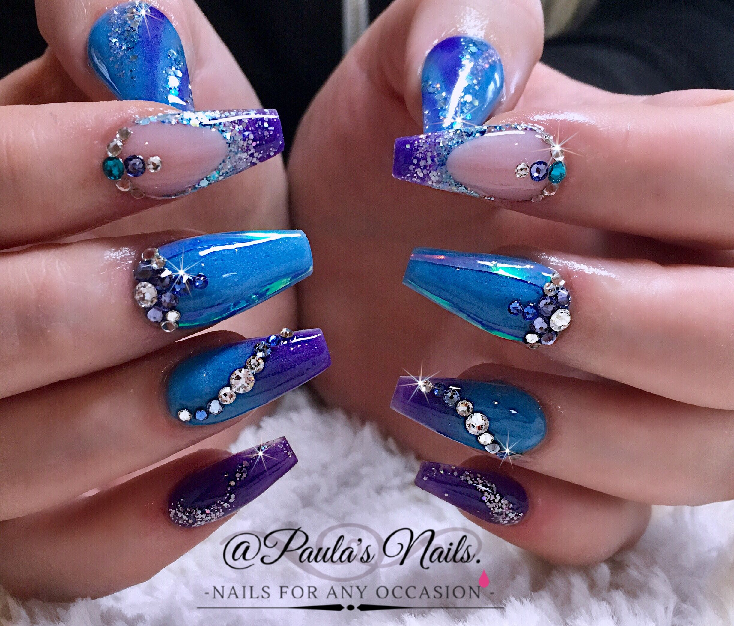 Cute Coffin Nails In Blue With Rhinestones! #nailart