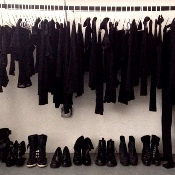 what my closet looks like in winter! Bring on the spring! And colour ...