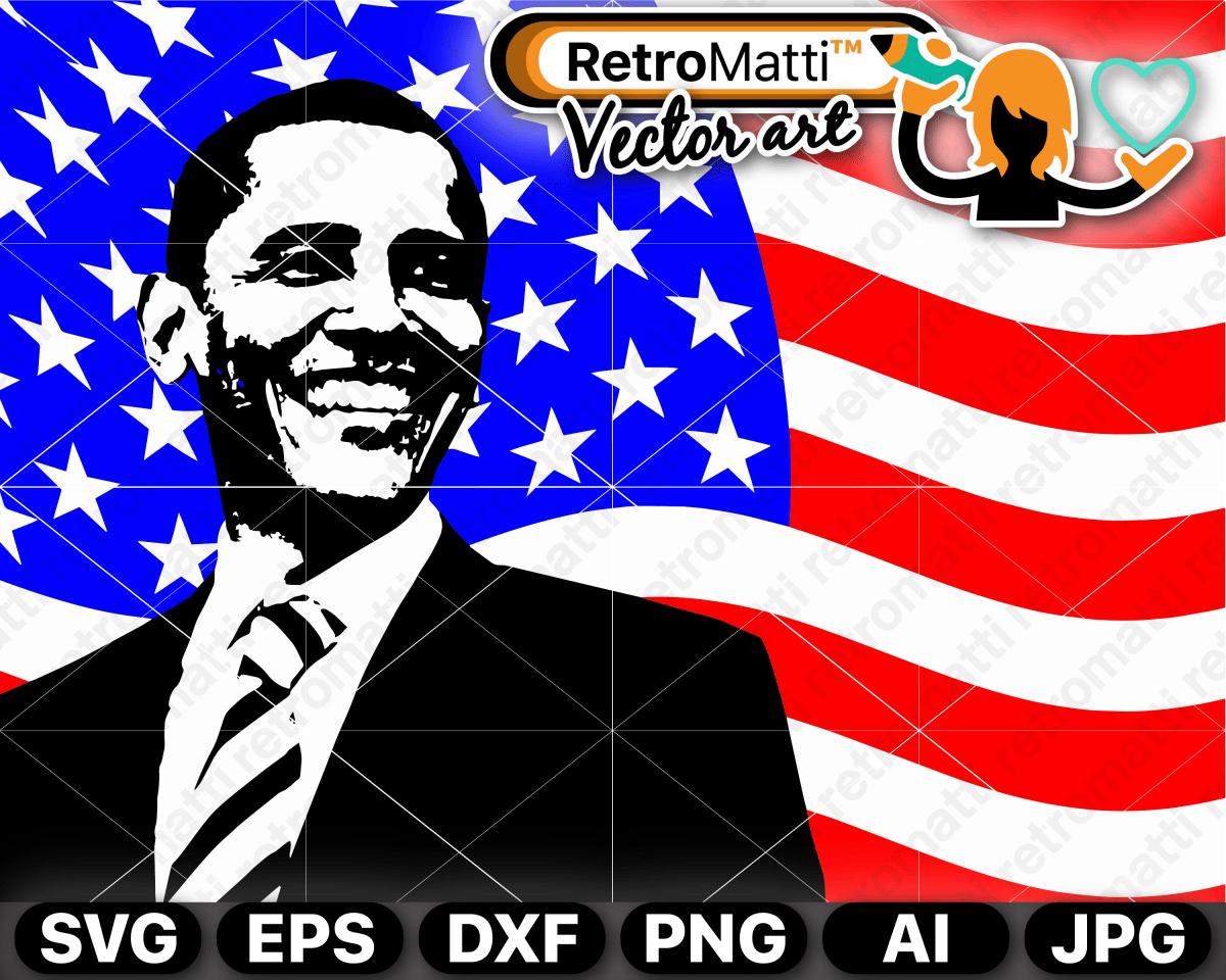 Obama American Flag Vector Flag Vector Vector Artwork Vector Art