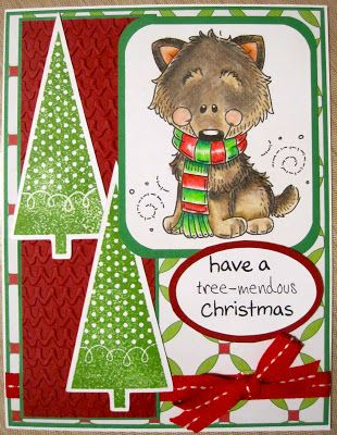 Christmas card using Meljen's Designs image coloured with Prismacolor Pencils and Cricut - Art Philosophy cartridge. Embossed with Cuttlebug.