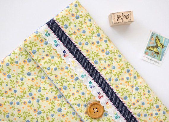 Ipad Case Pocket Yellow floral fabric pattern Ipad by deconoHut