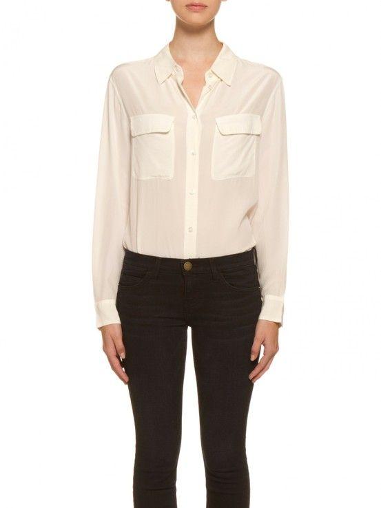517387caec886 Equipment Signature Silk Shirt in Natural White