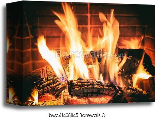 Logs Burning In A Fireplace Canvas Print Fireplace Pictures