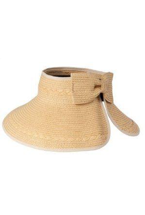 c93755b6 Luxury Lane Women's Tan Wide Brim Straw Sun Visor Hat with Back Bow Luxury  Lane. $24.00