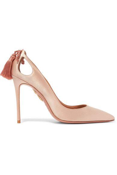 0a39c7af901 Heel measures approximately 105mm/ 4 inches Blush satin Slip on ...