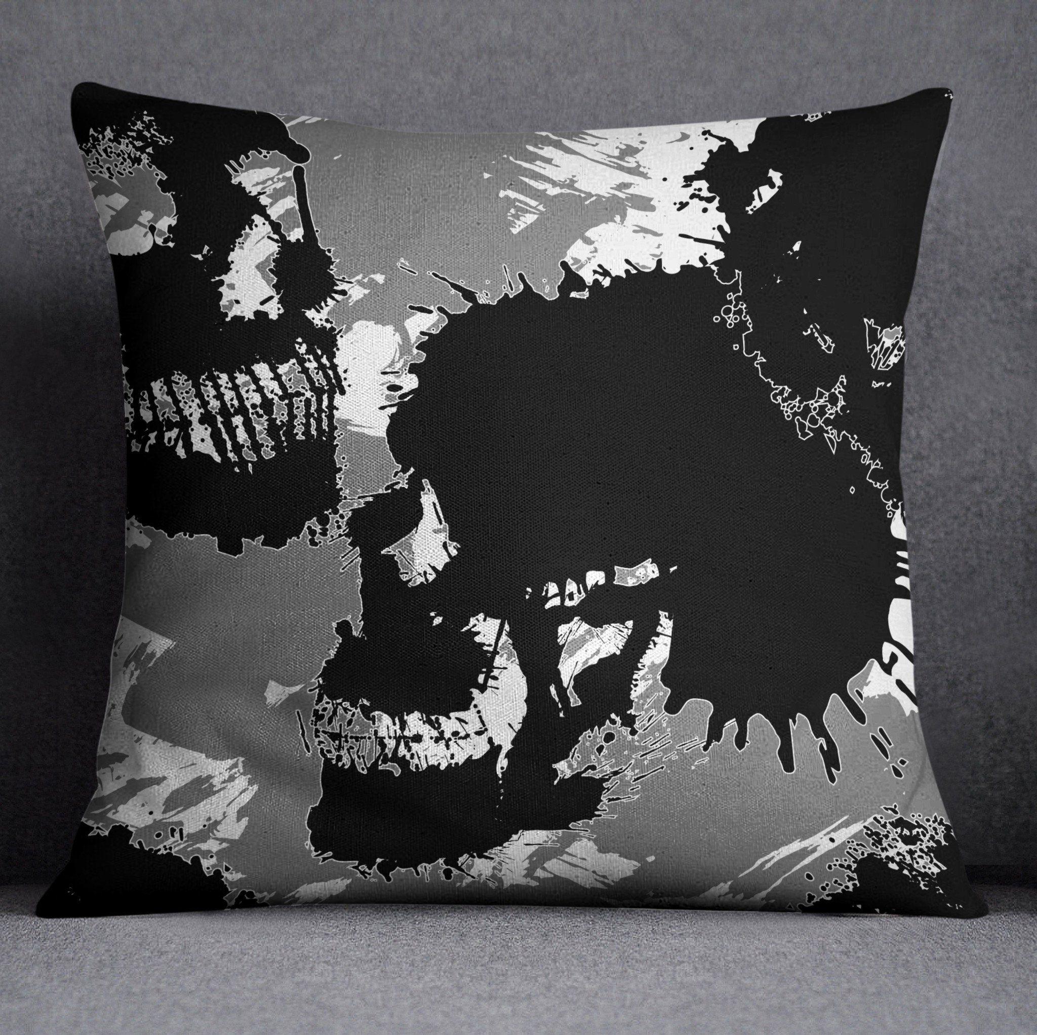 Grey White and Black Ink Spill Skull Bedding Soft
