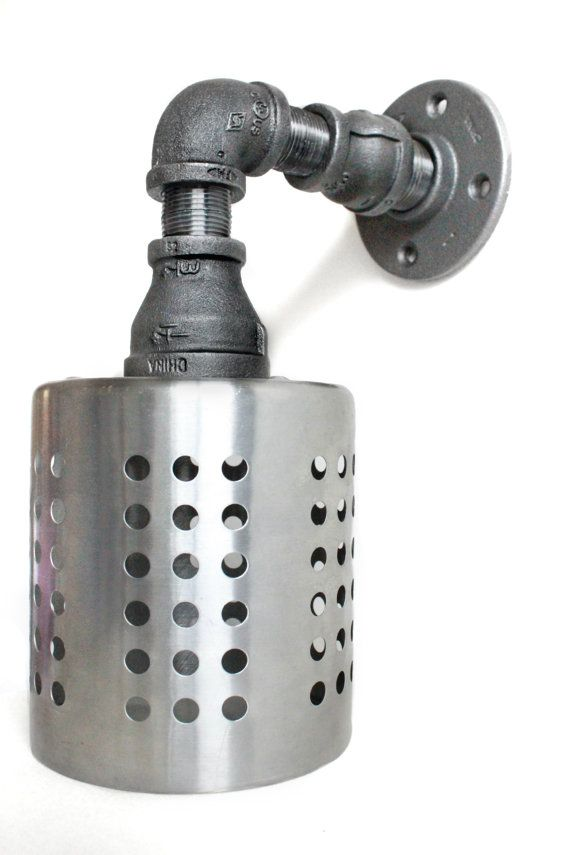 Industrial Wall Sconce Pipe Light W Stainless Steel Cage