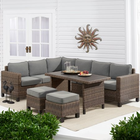 Better Homes Gardens Brookbury 5 Piece Patio Wicker Sectional Set With Gray Cushions Walmart Com Teak Patio Furniture Patio Furniture Sets Wicker Sectional