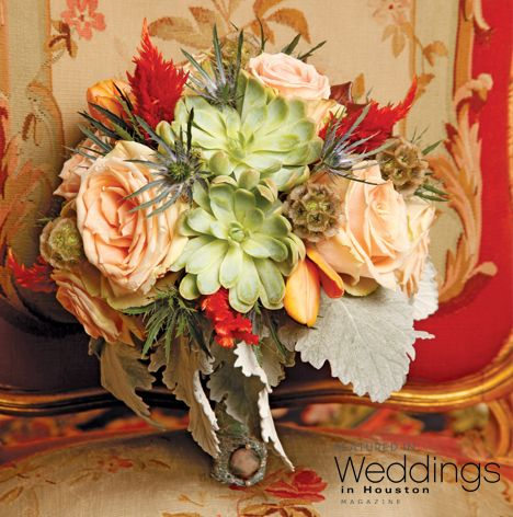 Eclectic wedding bouquet with shades of green, blush, and hints of red