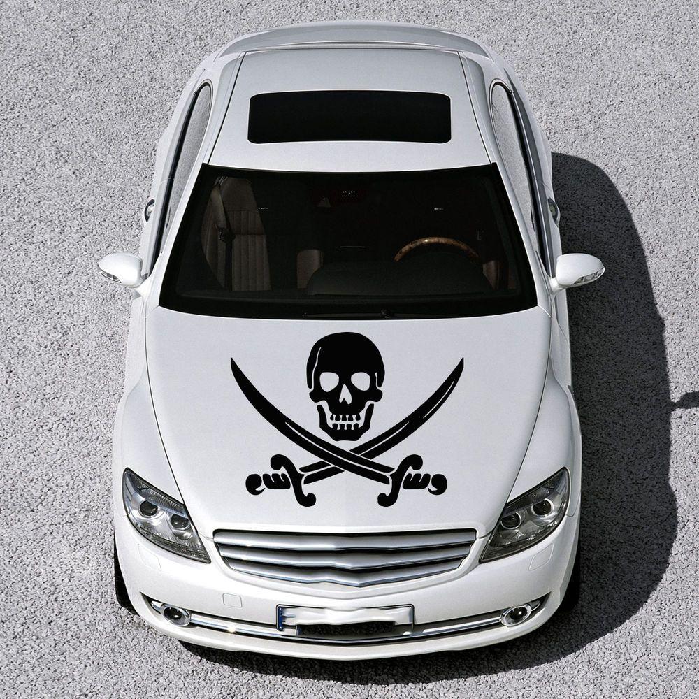 Pirate Sign Skull With Cross Swords Hood Car Vinyl Sticker Decals Graphic Sv1021 Car Decals Vinyl Car Vinyl [ 1000 x 1000 Pixel ]