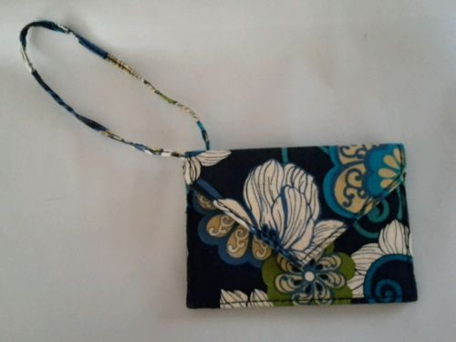 VERA BRADLEY ENVELOPE STYLE LUGGAGE TAG ID CREDIT CARD WALLET MOD FLORAL BLUE
