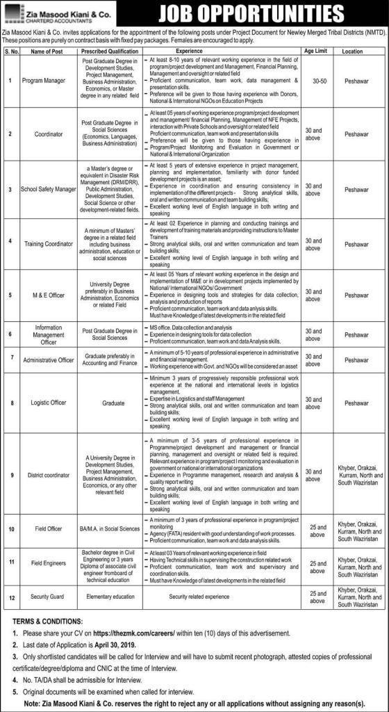 Zia Masood Kiani & Company Jobs Company job, High school