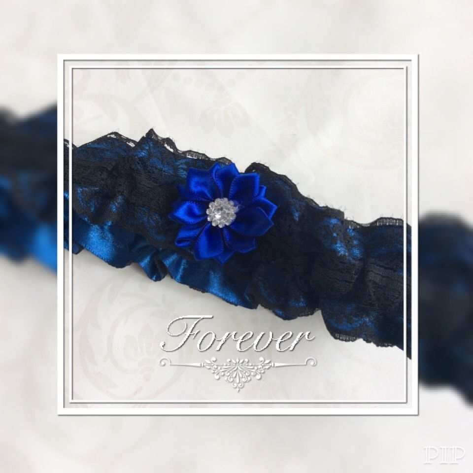 Blue Wedding Garter Uk: ️ Large Plus Garter Black Lace Blue Satin Ribbon Flower