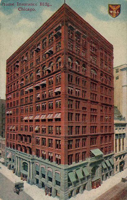 Home Insurance Building 1885 Postcard Gratte Ciel Ecole De Chicago Architecture
