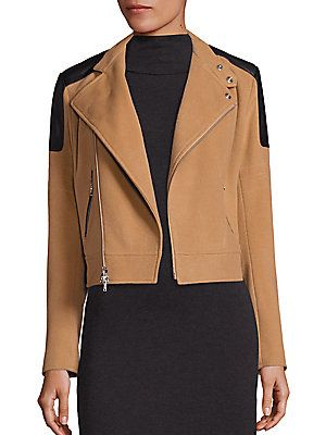 Polo Ralph Lauren Wool Cashmere Leather Trim Bomber Camel Jacket