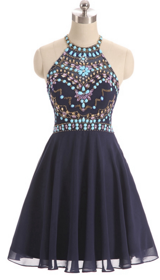 7c9993f4ca Unique 8th Grade Prom Sweet 16 Prom Dresses 2018 A-line Scoop Beaded Short  Mini Black Chiffon Homecoming Dress