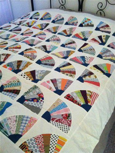 Vintage Grandmothers Fan Design Quilt Top 75x89 Vintage Quilts Patterns Patchwork Quilting Designs Vintage Quilts