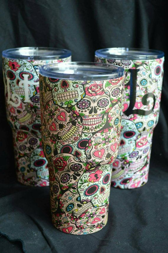 8ec7dff6471 Items similar to Sugar Skull, 30 oz. Insulated Tumbler, Hydro Dipped on Etsy