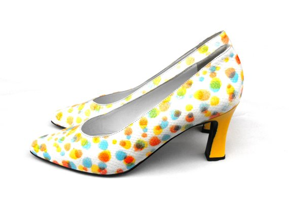 3d2ed38a6f3c7 1980s Neon Confetti Pumps Vintage Aqua Yellow Orange Mermaid Scale ...