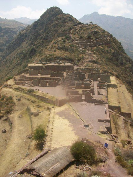 The ancient city of Pisac is in the same area as Machu Picchu. It's gorgeously placed on the tops of mountains.