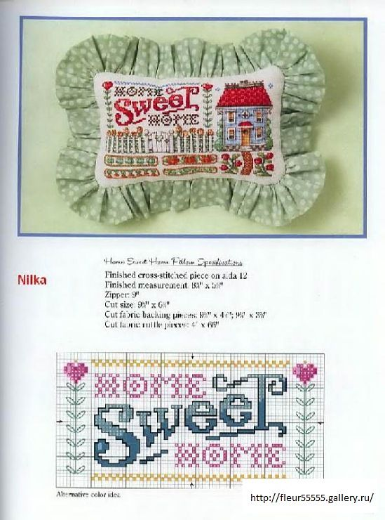 Gallery.ru / Фото #71 - 14 - Fleur55555; Home Sweet Home cross stitch pattern to make pillow or frame.