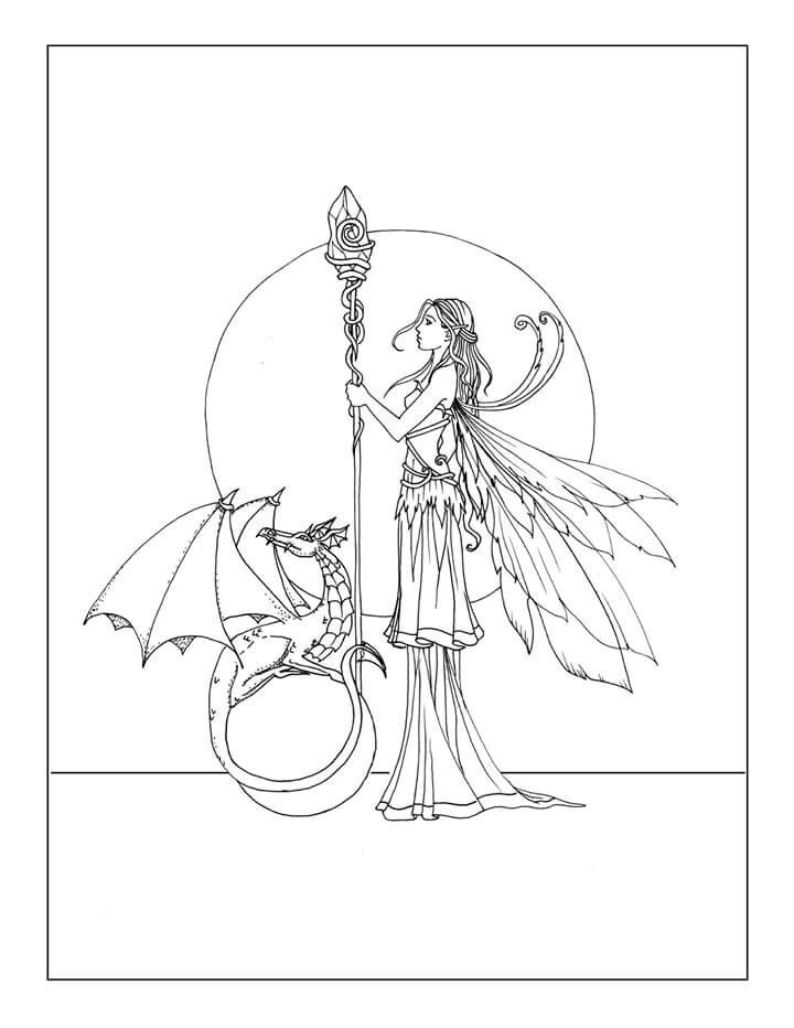 Free Fairy and Dragon Coloring Page by Molly Harrison www