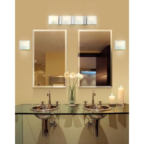 """Bathroom Light Fixtures Used frosted glass bands 26 1/2"""" wide bathroom wall light 