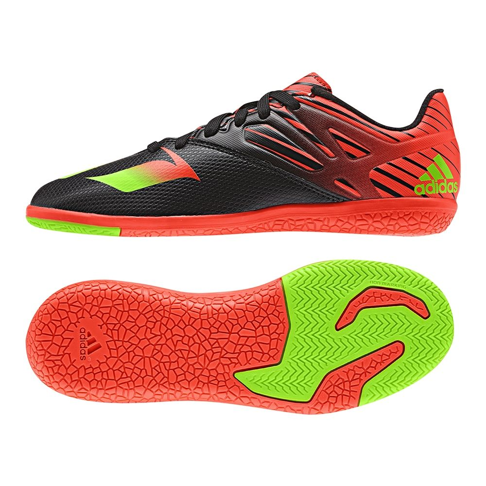 The Adidas youth Messi indoor soccer shoes can help you dominate the hard  court. Featuring the black and red design, the shoes also have ...