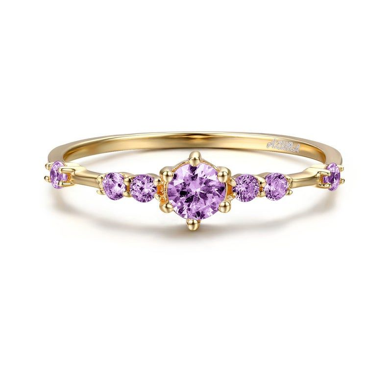 Amethyst Ring Gold Amethyst Ring Promise Ring Amethyst Engagement Gemstone Ring Yellow Gold Amethyst Amethyst Jewelry February Birthstone