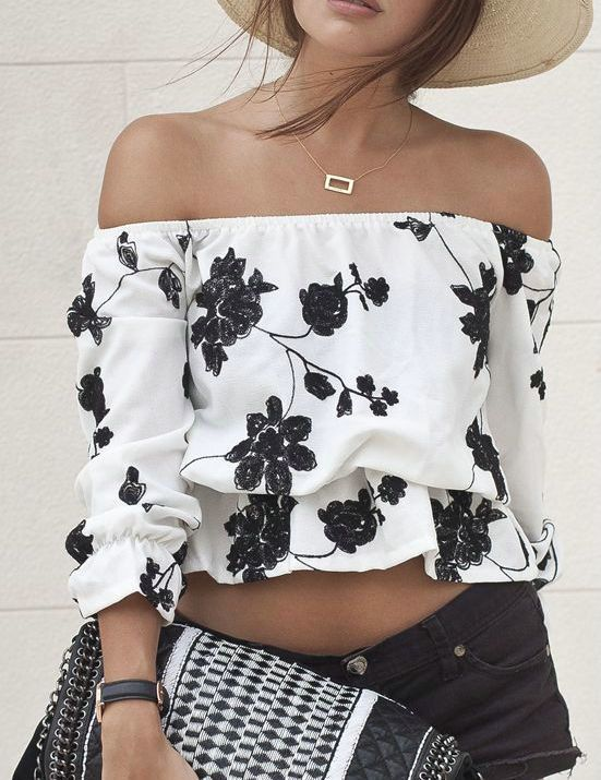 Ecstatic Monochrome Floral Print Bateau Off Shoulder Top