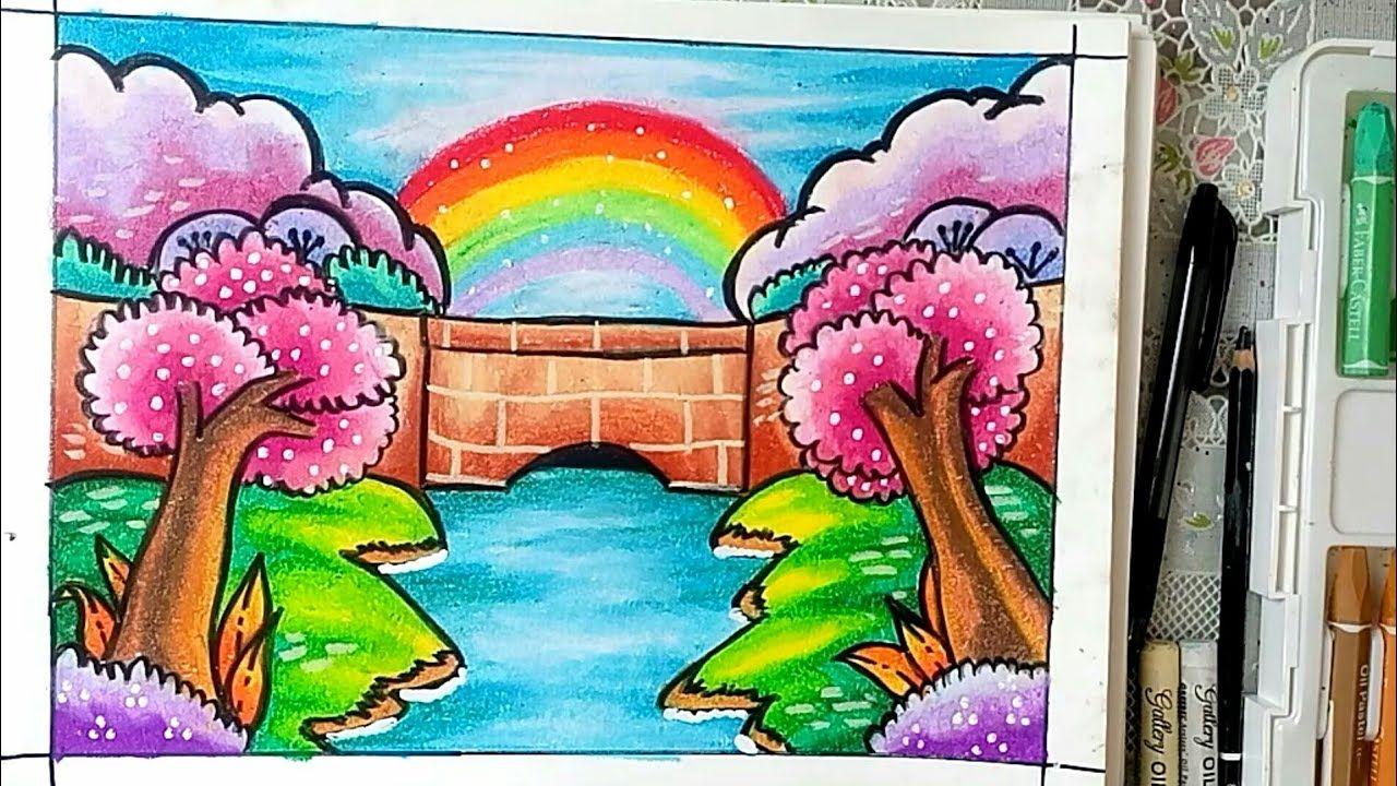Pemandangan Jembatan Cara Mudah Menggambar Dan Mewarnai Gradasi Warna Oil Pastel Youtube Warna Gambar Pemandangan