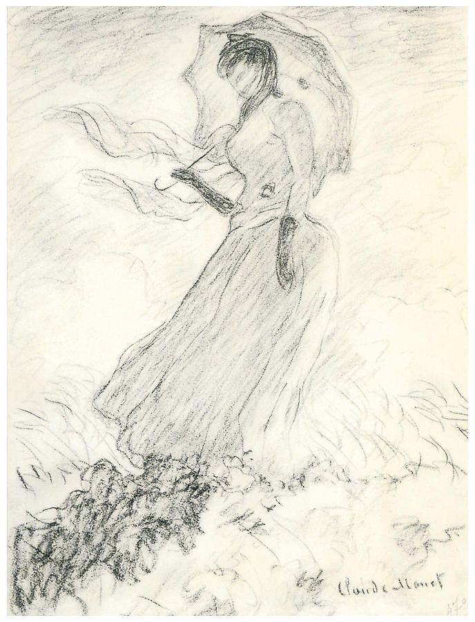 Woman With A Parasol by Claude Monet | Çizimler, Sanat ve Desenler